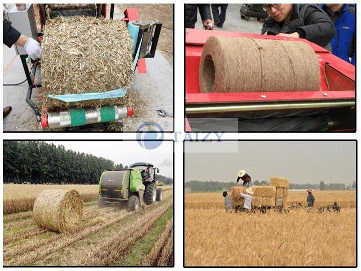 the working site of straw baling machine
